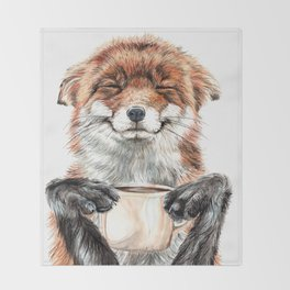 """ Morning fox "" Red fox with her morning coffee Throw Blanket"
