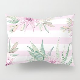 Rose Stripe Succulents - Pink and Mint Green Cactus Pattern Pillow Sham