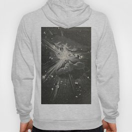 From the Earth to the Moon Black & White Space Explosion Ink Art 1874 Hoody