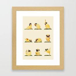 Pug Yoga Watercolor Framed Art Print