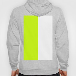 White and Fluorescent Yellow Vertical Halves Hoody