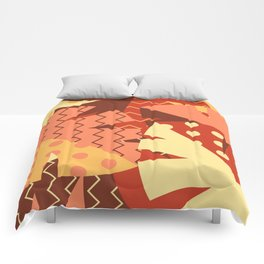 Patterned Autumn Leaves (Modern Retro Bold Colors) Comforters