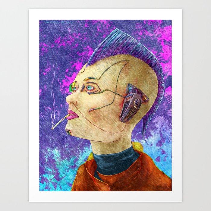 Cyberpunk in Rain Art Print