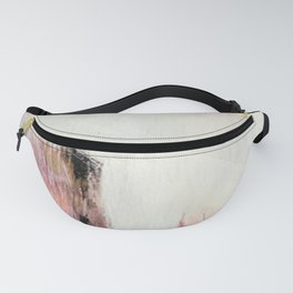 Sunrise [2]: a bright, colorful abstract piece in pink, gold, black,and white Fanny Pack