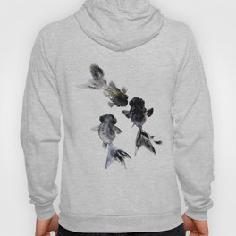 Black Moor, Feng Shui Koi Fish Art, Three Fish black fish decor Hoody