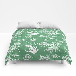 Bamboo Silhouettes in Everglade Green/Seashell White Comforters
