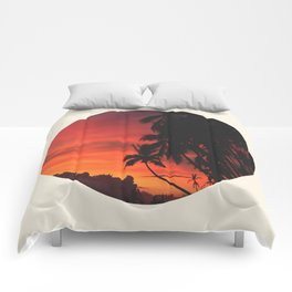 Beautiful Red & Orange Tropical Sunset Comforters