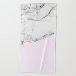Real White Marble Half Baby Pink Modern Abstract Shapes Beach Towel