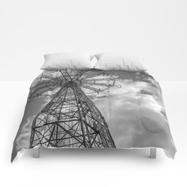 Coney Island Parachute Jump. Black and white photography Comforters