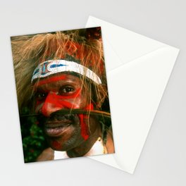 Ruggedly Remote Papua New Guinea Villager At Sing Sing Stationery Cards