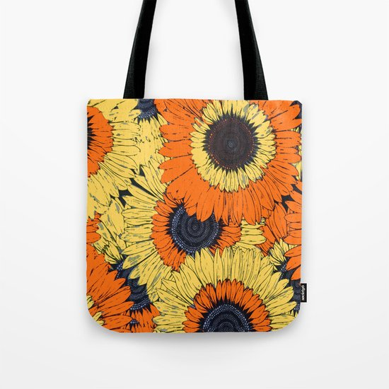Abstracted Orange Yellow Deco Sunflowers Tote Bag
