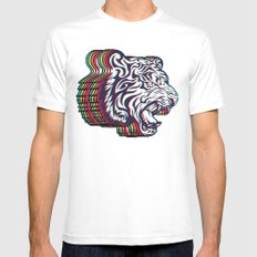 3D Tiger White MEDIUM Mens Fitted Tee