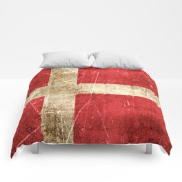 Vintage Aged and Scratched Danish Flag Comforters