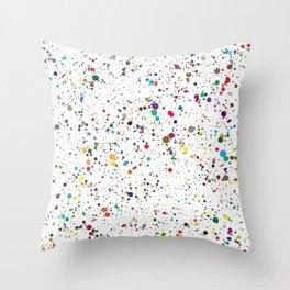 80s RAINBOW SPLATTER PAINT PATTERN Throw Pillow