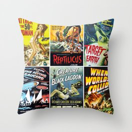50s Sci-Fi Movie Poster Collage #1 Throw Pillow