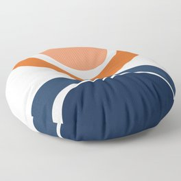 Abstract Shapes 7 in Burnt Orange and Navy Blue Floor Pillow
