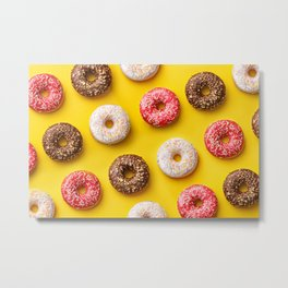 Donut lovers, delicious donuts on yellow background Metal Print