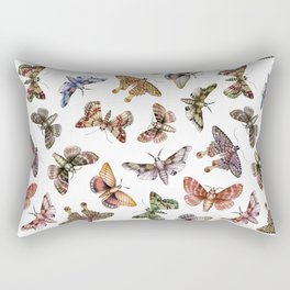 A Multitude Of Moths - Colorful Moth Pattern Rectangular Pillow