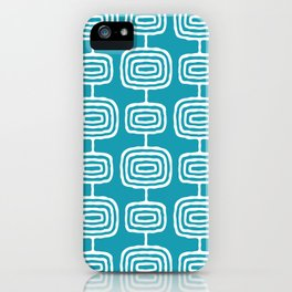Mid Century Modern Atomic Rings Pattern Turquoise iPhone Case