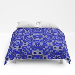 Vibrant Blue Indigo Grey Futuristic Quilt Print Comforters