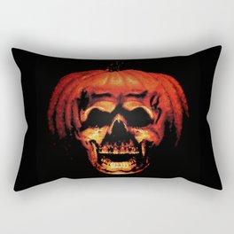 Halloween II Pumpkin Skull Stained Glass Rectangular Pillow