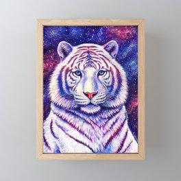 Among the Stars Colorful Cosmic White Tiger Framed Mini Art Print