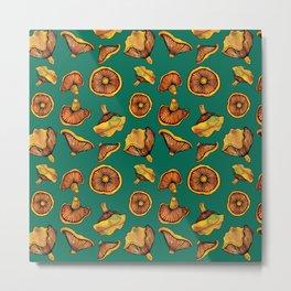 Mushroom Pattern | Woodland Fungi | Rovellones Metal Print