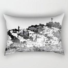Telegraph Hill Print Black and Grey Rectangular Pillow