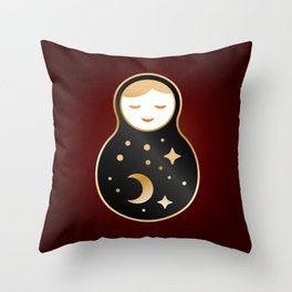 Russian doll matrioshka Babushka smiling Kawaii cute face, Stars, moon, constellation, night sky Throw Pillow