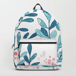 """Blue Leaves """"Gentle Breeze"""" // Simple Watercolors and Mixed Media Art Backpack"""