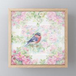 Bullfinch Bird in the Rose Garden Framed Mini Art Print