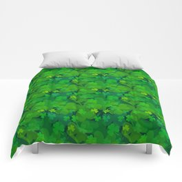 lucky Shamrock - Clovers All Over Comforters