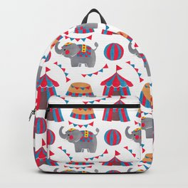 Colorful red blue gray watercolor elephant circus pattern Backpack