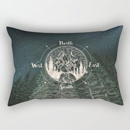 Mountains Compass Milky Way Woods Gold Rectangular Pillow