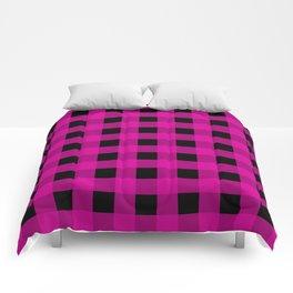 Magenta and Black Check Comforters