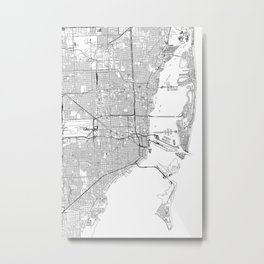 Miami White Map Metal Print