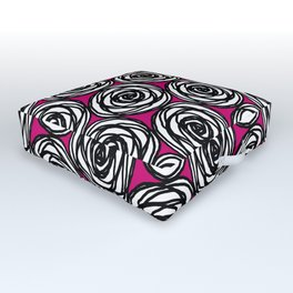 Black and White Rose Outdoor Floor Cushion