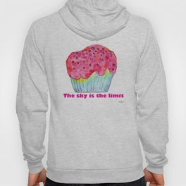 The Sky Is The Limit inspirational typography positive quote cake illustration watercolor painting Hoody