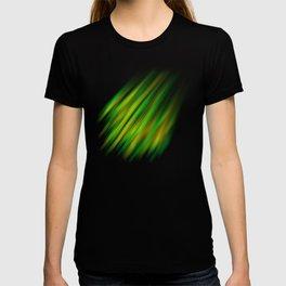 Colorful neon green brush strokes on dark gray T-shirt