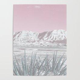 Mojave Snow // Red Rock Canyon Las Vegas Desert Landscape Light Pink Sky Vintage Photography Poster