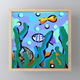 Swimming Fishes - Blue Framed Mini Art Print