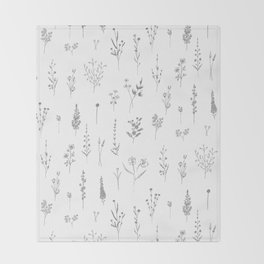 Wildflowers - Grey Flowers Throw Blanket
