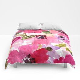 Watercolor Flowers Pink Fuchsia Comforters