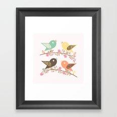 Four birds Framed Art Print