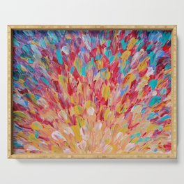 SPLASH - WOW Dash of Cheerful Color, Bold Water Waves Theme, Nature Lovers Modern Abstract Decor Serving Tray