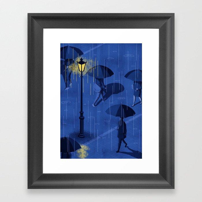 RAINY NIGHT Framed Art Print