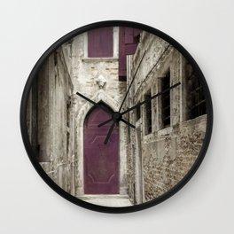 Plum Door - Venice, Italy Wall Clock