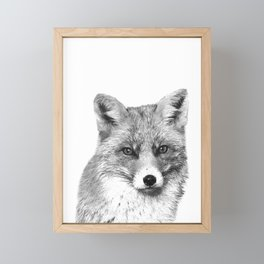 Black and White Fox Framed Mini Art Print