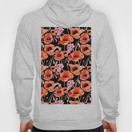 Bold Red and Pink Poppy Flowers on Black Hoody