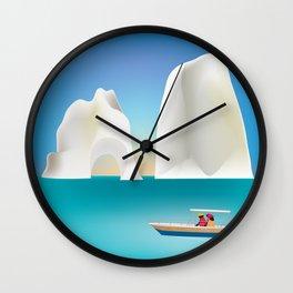 Capri, Italy- Skyline Illustration by Loose Petals Wall Clock